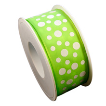 Lime green ribbon with white dots