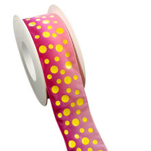 Pink ribbon with yellow dots (0.5-1.5in)