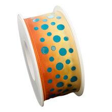 Orange ribbon with blue dots