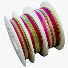 Semi-sheer ribbon, Fuchsia and kime green