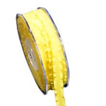 Ruban taffetas jaune à volants