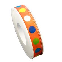 Orange ribbon with multicolor circles