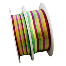 Red multicolor lined ribbon