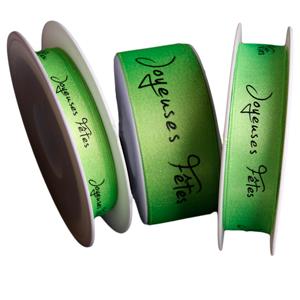 Ruban « Joyeuses Fêtes », vert scintillant