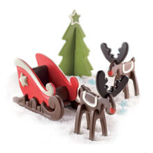 Xmas dream, Sleigh and reindeer silicone mold