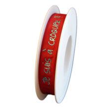 """Red ribbon, """"Je suis à croquer"""", 15mm"""