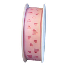 Light pink ribbon with hearts cuts (1in)
