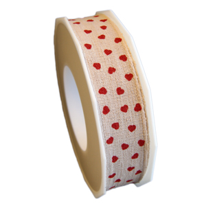 Linen-like ribbon with red hearts,25mm