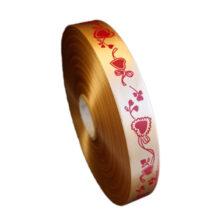 Red hearts on gold polypropylene ribbon