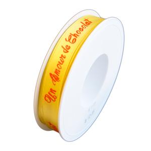 """Ruban jaune """" un amour de chocolat"""", 15mm"""