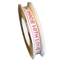 """""""Made with love"""" red ribbon, 15mm"""