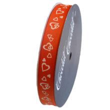 Orange ribbon with white hearts, 15mm