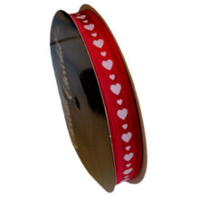 Valentine ribbon white hearts on red