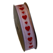 Valentine ribbon red hearts on pink