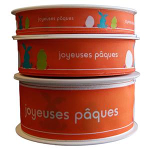 """Orange ''Joyeuse Pâques"""",ribbon"""