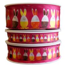 Egg cup rabbit, pink ribbon