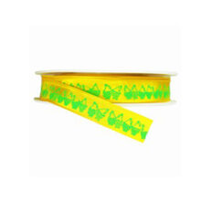 Yellow ribbon with green hen print (5/8in)