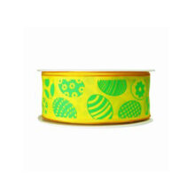 Yellow Ribbon with Green Easter Eggs Motif (1.5in)