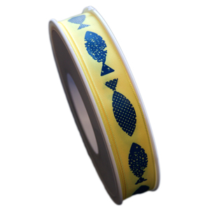 Blue Fish on yellow Ribbon (5/8in)