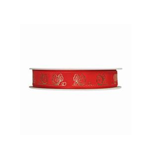 Poule en croquis or métallique et rouge (15mm)