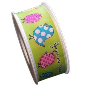 Green ribbon, dots hen (40mm)