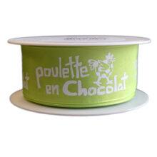 """""""Poulette en chocolat"""" green ribbon (40mm)"""