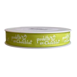 """""""Ma Poulette"""" pistachio green ribbon (5/8in)"""