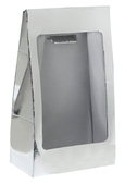 Metallic silver standing pouch