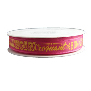 RUBAN « ONCTUEUX, CROQUANT, PRALINÉ, ETC... » JAUNE SUR ROSE (15mm)