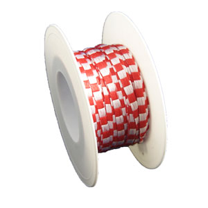 Red and white twill ribbon (5mm)
