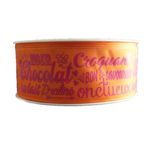 "Ruban ""Description"" chocolat, Fuchsia sur orange"