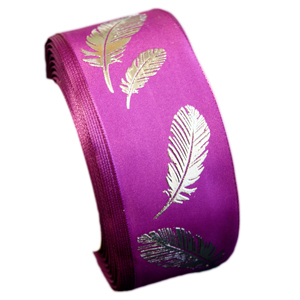 """""""Silver feather"""" ribbon (1.5in)"""