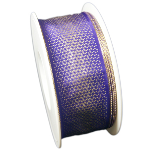 Purple ribbon with golden patterns (1.5in)