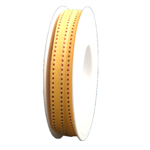Ruban gros-grain pointillés jaune/fuschia (10mm)