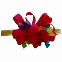 Gros grain multicolour pink bow