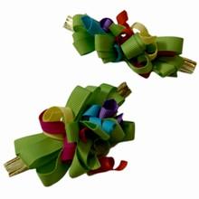 Multicolor grosgrain lime bow