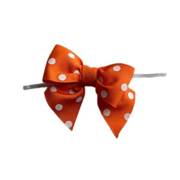 Orange Polkadot Bow Twist Ties