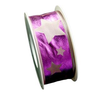 Ruban étoile métallique magenta (40mm)