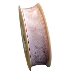 Ruban rose et motif argenté (25mm)