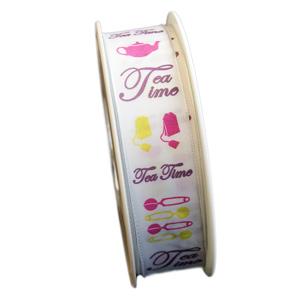 """Ruban """"Tea Time"""" blanc (25mm)"""