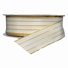 White Ribbon with Gold Filament stripes (1.5in)