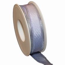 Ruban lilas avec bordure semi-transparent argentée (25mm)