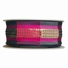 Pink and black plaid ribbon (1.5in)