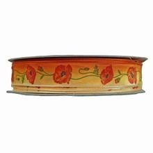 """Ombré"" orange ribbon with poppy motif (0.75in)"