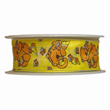 Whimsical yellow motif bear and honey ribbon (1in)