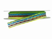 Woven Yellow, Brown, Blue and Green Ribbon (0.5in)