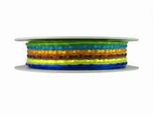 Woven Yellow, Brown, Blue, Orange and Green Ribbon (1in)