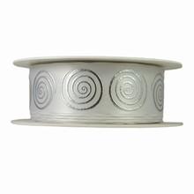 Silver Swirls on White Satin Ribbon