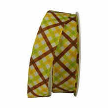 Lime Green, Yellow and Brown Plaid Ribbon (1in)