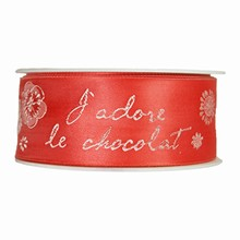 """Red """"J'adore le Chocolat"""" Ribbon (1.5in)"""